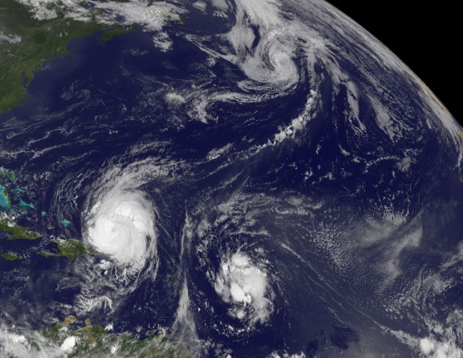 Satellite image of the North Atlantic showing Hurricane Earl and Tropical Storm Fiona