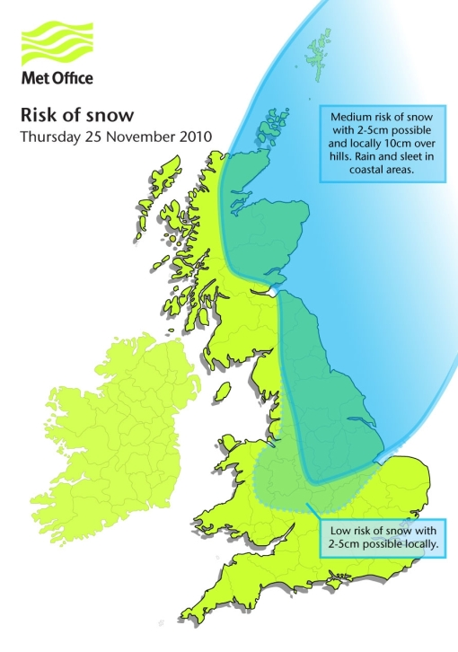 Risk of snow on Thursday 25th November 2010