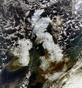 Satellite image taken from MODIS satellite at 1257 on 8 Dec 2010 showing snow across the northern half of the UK