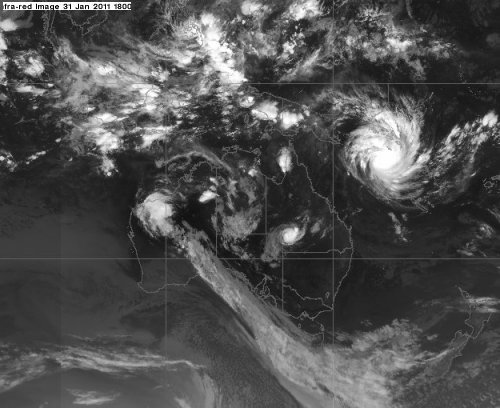 Satellite image showing Tropical Cyclone Yasi to the East of Australia (1800 GMT on 31 Jan 2011)