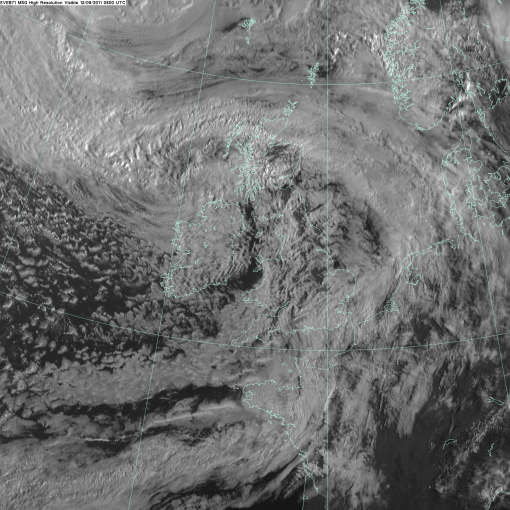 The swirl of cloud to the west of Scotland/north of Northern Ireland is the low pressure system which was Katia.