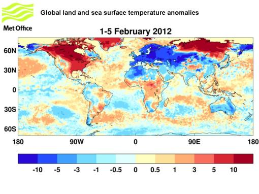 Global land and sea surface temperature anomalies for 1-5 February 2012