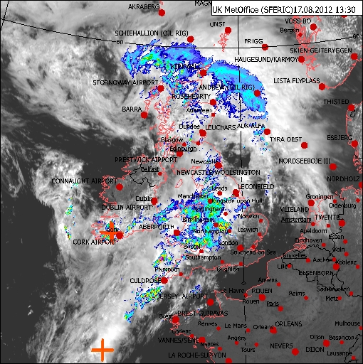 Met Office radar image from 17 August 2012
