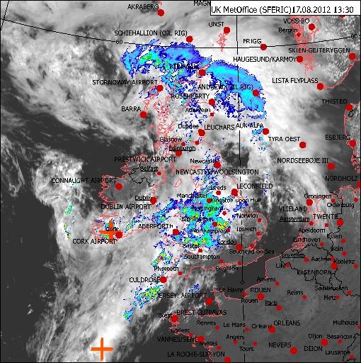 Met Office radar image from 17 August 2012