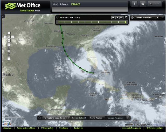 Satellite image and forecast track of Tropical Storm Isaac from Met Office StormTracker