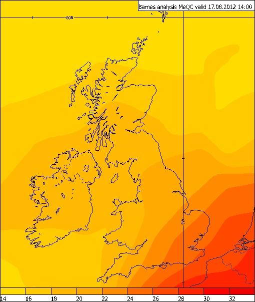 Temperatures on 17 August 2012