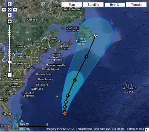 This graphic shows the position and forecats track tropical storm Leslie. The orange circle indicates the current position of the center of the tropical cyclone. The black line and dots show the National Hurricane Center (NHC) forecast track of the center at the times indicated. The dot indicating the forecast center location will be black if the cyclone is forecast to be tropical and will be white with a black outline if the cyclone is forecast to be extratropical. If only an L is displayed, then the system is forecast to be a remnant low.