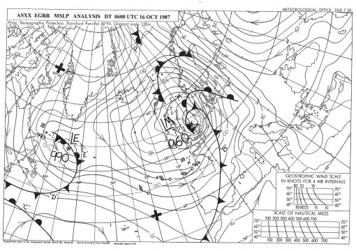 Great Storm surface pressure chart