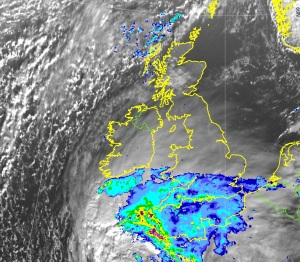 Rain spreading north across the UK Saturday 24 November 2012