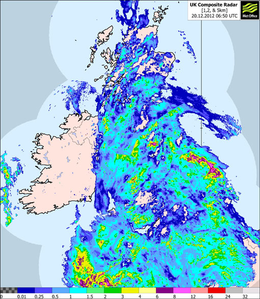 Rainfall radar image from 6.50 am this morning