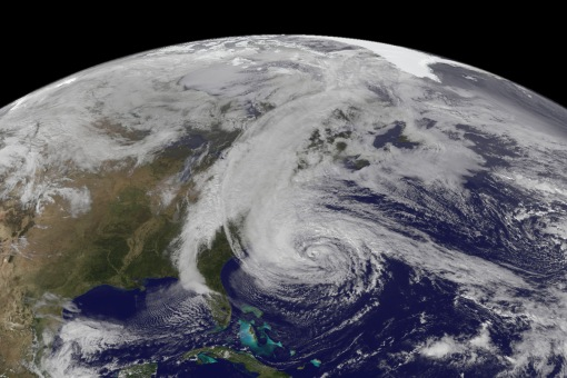 GOES-13 natural-color image of Hurricane Sandy at 17:45 UTC on October 28, 2012.  CREDIT: NOAA/NASA GOES Project.