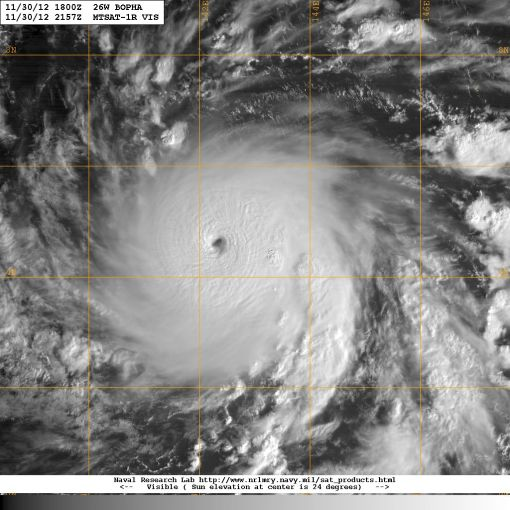 Satellite image showing Typhoon Bopha 3rd December 2012