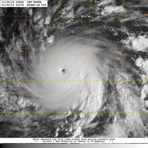 Satellite image showing Typhoon Bopha 3rd December 2012