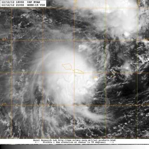 Visible satellite image of Cyclone Evan on 12 December 2012