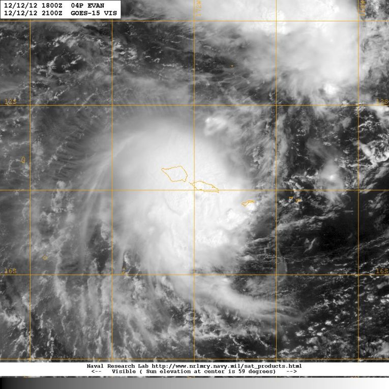 Visible satellite image of Cyclone Evan on 12 December 2012