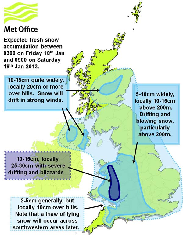UK snow fall depths