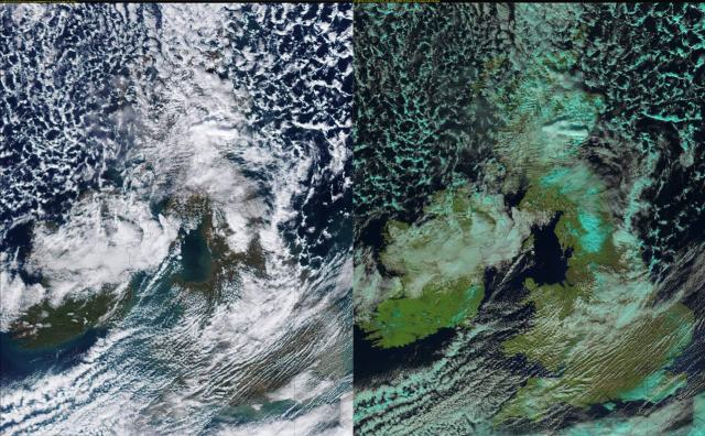 12 March 2013 Left: Visible satellite image of the UK, Right: False colour satellite image of the UK.