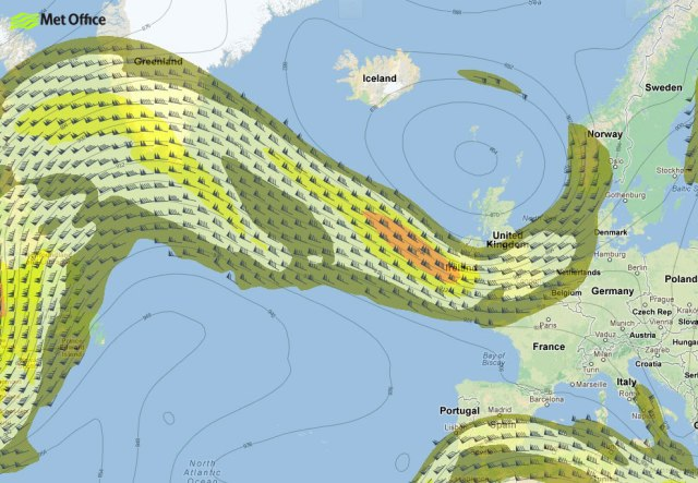 Forecast chart showing position of the jet stream at midday on 13 May 2013