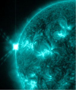 NASA image showing a solar flare from sunspot 1748