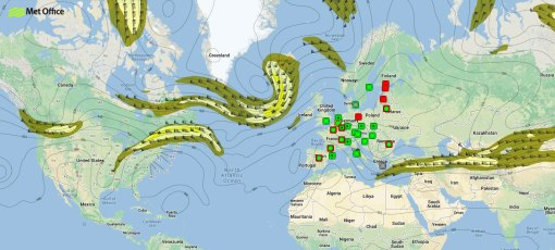 Chart showing expected position of the jet stream on 6 July 2013.