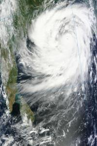 Cyclone Phailin at 0455 UTC 11 October 2013. Image from the NASA Terra satellite.