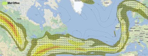 Forecast chart showing  expected position of the jet stream at 1pm on Tuesday 22 October