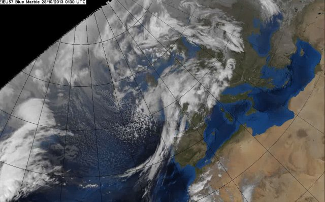 Satellite image showing the storm tracking across the UK