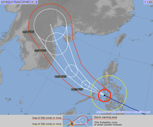 Forecast track of Typhoon Haiyan from the Japan Meteorological Agency. (http://www.jma.go.jp/en/typh/images/zooml/1330-00.png) NOAA.