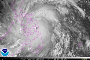 Typhoon Haiyan at 2230 UTC on 07 November 2013 as it made landfall. Image from NOAA.