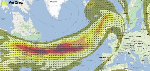 Forecast position of jet stream at midday Saturday 14 December 2013