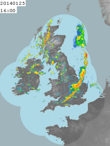 Radar image showing the narrow band of showers moving across the UK.