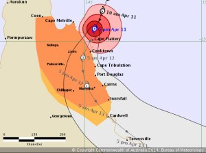 Latest forecast track of Ita from the Bureau of Meteorology