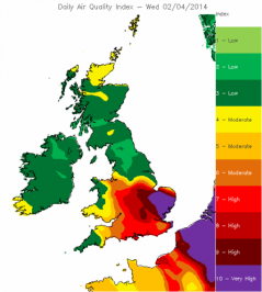 Met Office air quality forecast for 2 April 2014