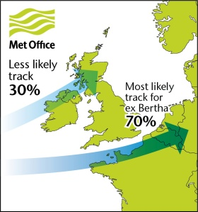 Map shows likely storm track for ex Bertha by midday Sunday.