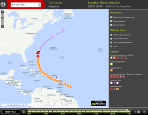 Forecast track for Bertha from StormTracker shows it heading north off the east coast of the US before turning east.