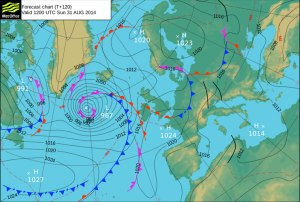 Forecast pressure chart for 1pm on Sunday 31 August shows ex-Cristobal heading towards Iceland.