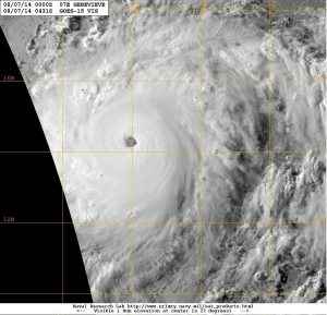 Hurricane Genevieve as it crossed the International dateline and became a typhoon on 7 August 2014.  Image courtesy of US Naval Research Laboratory.