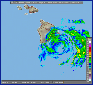 Rainfall radar showing Tropical Storm Iselle approaching Hawaii 8 August 2014. Image courtesy of NOAA