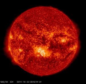 Light are in centre of this image of the sun is the largest sunspot for 11 years