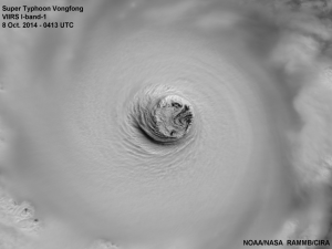 Typhoon Vongfong seen on 8 October 2014