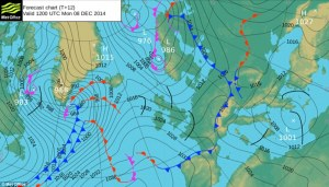 Chart showing a low pressure in the north-west Atlantic at midday on Monday 8 December.
