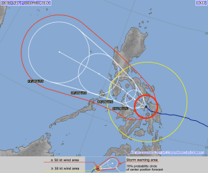 The latest forecast of the typhoons path produced by the Japan Meteorological Agency (JMA)
