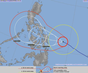 The latest projection of the typhoon produced by the Japan Meteorological Agency (JMA)