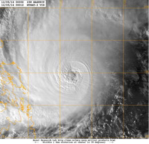 Typhoon Hagupit seen on 5 December 2014 Satellite image courtesy of Naval Research Laboratory