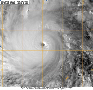 Typhoon Hagupit seen on 4 December 2014 Image courtesy of Naval Research Laboratory