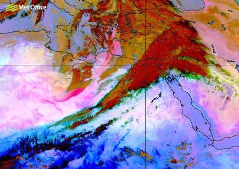 The deep pink area in this satellite picture is the dust, and the line of dust stretches right up towards Greece.