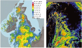 Snapshot of UK rain radar surface rainfall rate for 2200 GMT on 23 December 2013