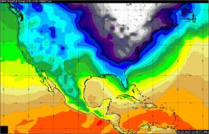 Map showing air temperatures across the US, with white (-24C) and blue (below 0C) showing cold air and yellows and oranges showing warm air. From the Met Office's Global Model for 1200HRS GMT on 20 February 2015