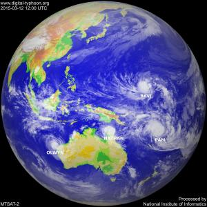 Four cyclones seen on 12 March 2015. Image courtesy of The National Institute of Informatics