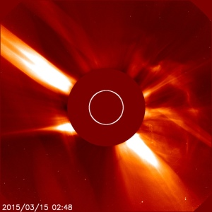 CME leaving the sun on 15th March 2015 courtesy of NASA